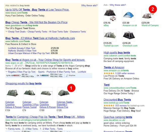 Screenshot von Google Shopping Anzeigen