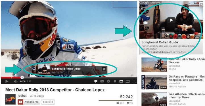 AdWords-Anzeigen auf Youtube-Video von Red Bull