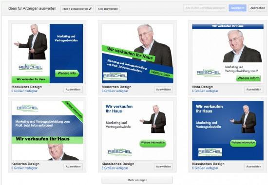 Auswahl von Image-Anzeigen in Google AdWords
