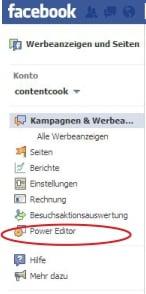 """Der """"Power Editor"""" in der linken Spalte des Werbeanzeigenmanagers"""