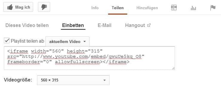 Screenshot Video-SEO: YouTube-Codeschnipsel zum Einbetten von Videos