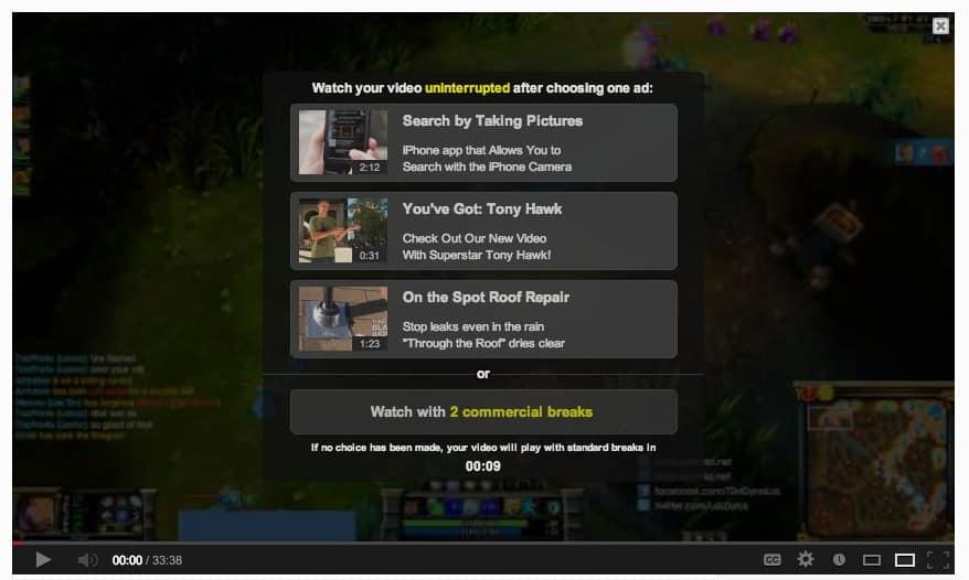 Screenshot: Auswahlmaske für die Pre-Roll-Youtube-Ads