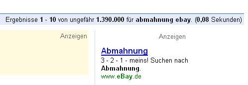 AdWords Anzeige von Ebay: Abmahnung
