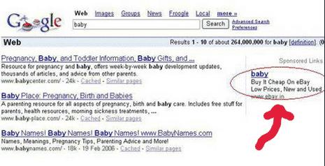 AdWords-Anzeige von ebay: Baby kaufen