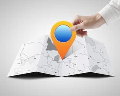 Standort Stecknadel auf Landkarte