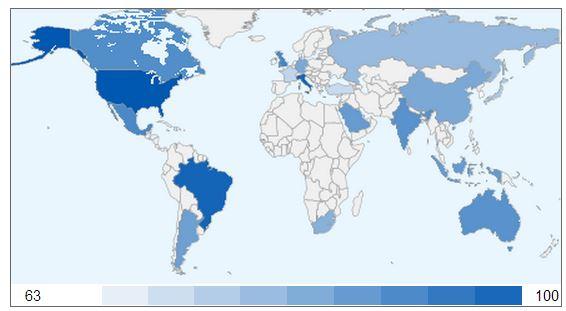 """Google Globalfinder: Verteilung der Suchanfragen nach """"Kaffee"""" in den G20 Ländern."""