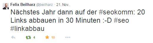 Tweet von Felix Beilharz zur SEOkomm 2014