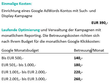 AdWords Kosten - Beispiel für Agentur-Honorar