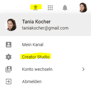 YouTube-Links zum Creator Studio