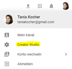 YouTube-Link zum Creator Studio
